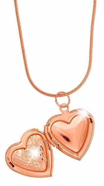 Halskette Damen Kette Frauen und Mädchen Halskette rose-gold Medaillon Herz Anhaenger Foto Anhänger zum aufklappen Women Necklace Heart For Pictures ROSE 5198