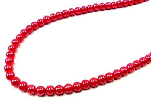 Halskette edle Perlenkette Damen ketten 1937 top Design viele Farben 58cm (rot)