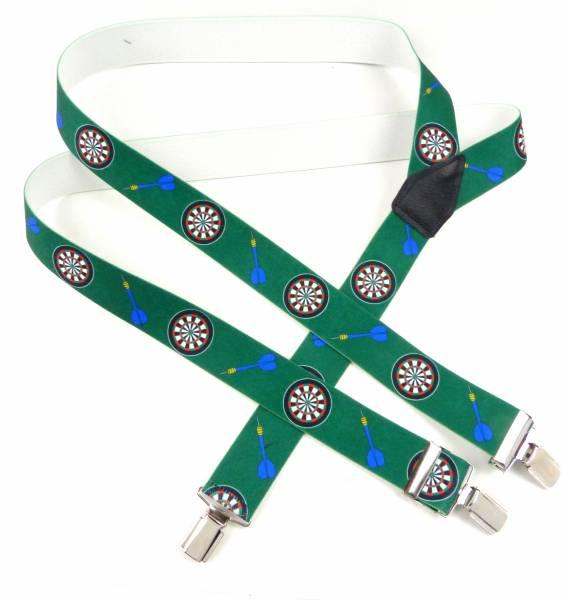 Hosentraeger Herren Damen grün Dart Motiv hochwertiger Hosenträger Hosen-Halter Men Woman Suspenders green mit tollem Dart Motiv