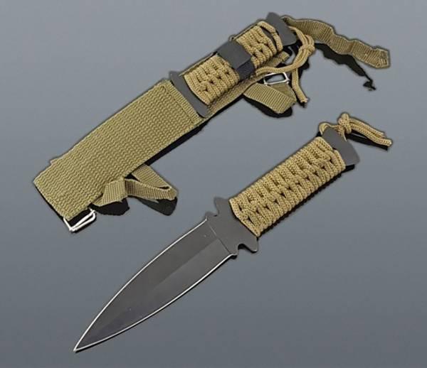 Wurf Messer schwarz Outdoor Survival Knife mit Tasche oliv 22cm