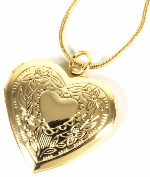 Damen Kette Medaillon Gelb-Gold Herz für 2 Fotos/Bilder Herz-Anhänger Amulett