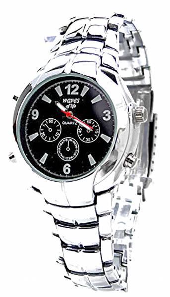 Herren-Uhr Damen-Uhren Metall-Armband silber schwarz für Sie und Ihn Ox17
