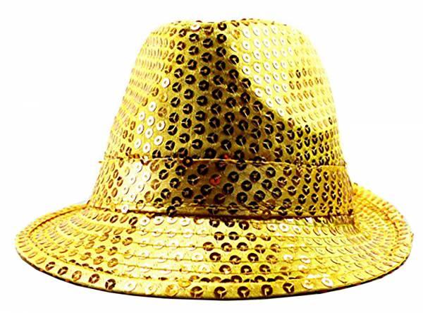 Herren Damen Party-Hut Pailletten LED Lichter gold