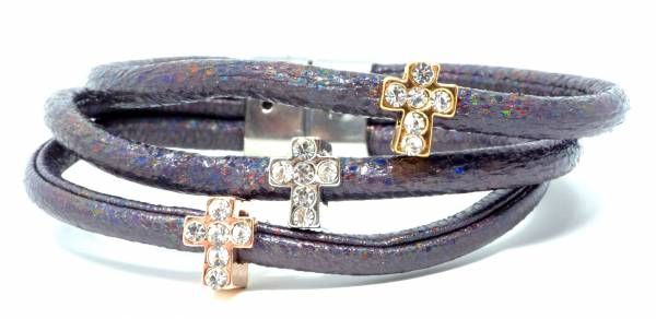Damen Armband grau Kreuze Anhänger Strass