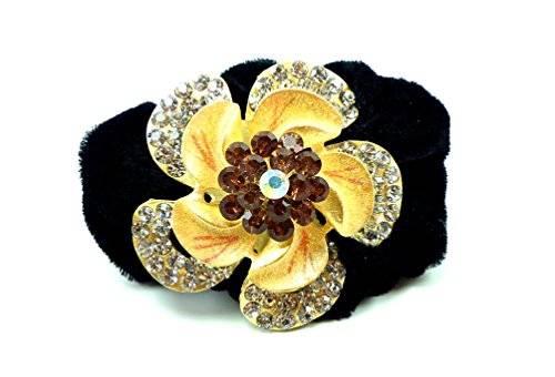 Haargummi 1591 Blumen Zopf Gummi Haarspange für Kinder und Erwachsene Hairtie mit edlen Strass viele Farben (gelb)