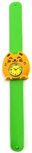 Uhren 2066 Kinder Uhr Damenuhr mit Slap Armband aus Silikon (funcat-grün)