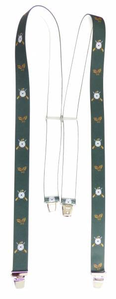Hosenträger grün Schützen-Motiv mit Eichenlaub Sport-Shooter Suspenders Design, mit 4 Clips, 3,5 cm