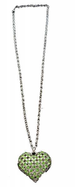 Damen-Herzketten silber Halskette mit grünem Strass-Besatz Herz-Anhänger