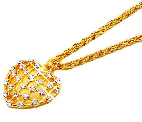 Damen Goldkette mit Anhänger -Golden Heart- mit Strassbesatz BS1-8-12