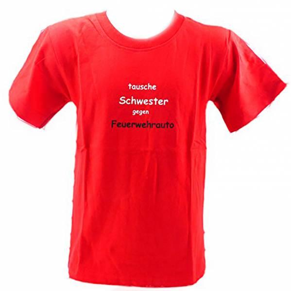 kinder t-shirt 3-4 Jahre TAUSCHE SCHWESTER GEGEN FEUERWEHRAUTO (rot)