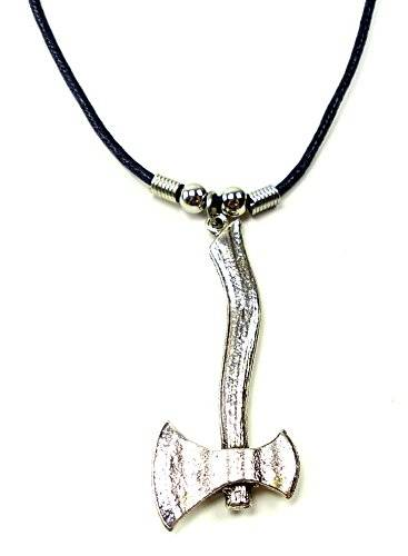 Echtleder Halskette mit Axt Anhänger Edelstahl UX-9
