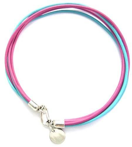 Armband 2779 Halsband mit Karabinerverschluss (pink-blau)