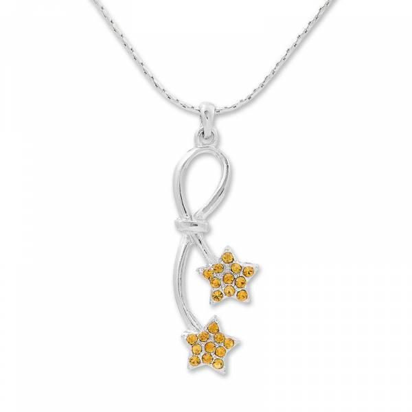 Halskette Damen Silber-Ketten mit Swarovski Kristall Gold Ketten-Anhänger Woman Necklace Silver Swarvski Cristall Sternen Gold 4930
