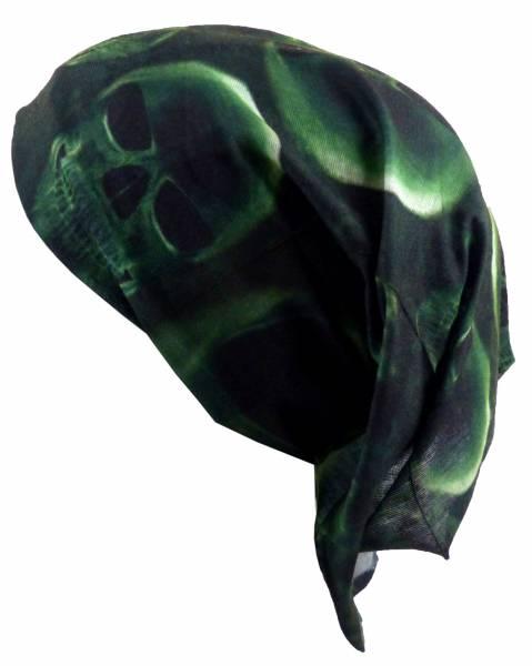 Stoff-Mütze Kopftuch Herren Damen Kinder Tücher grün mit Motiv Totenkopf 18fach Universal Nickituch Green Halloween Fasching Mundschutz Universal Bandana Biker Halstuch Skull Armband 4971