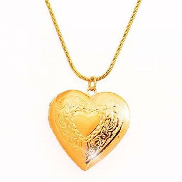 Halskette Damen Kette Frauen und Mädchen Halskette gold Medaillon Herz Anhaenger Foto Anhänger zum aufklappen Women Necklace Heart For Pictures - GOLD 5199