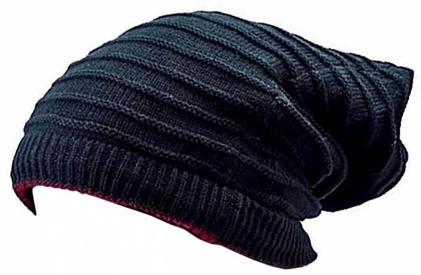 viele Wintermützen-Wende-Mützen 3190 Loop-Schal-Winter-Schals-Rundschal-Long-Beanie-Muetzen Winter Edition (schwarz)
