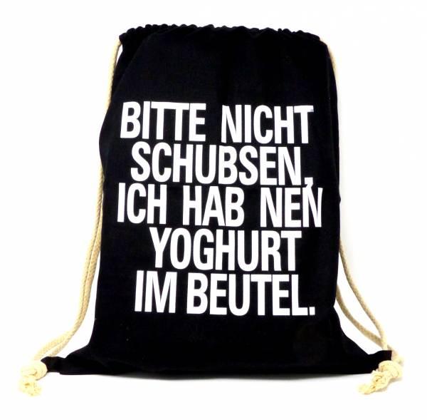 Beutel Rucksack Sprüche-Tasche schwarz