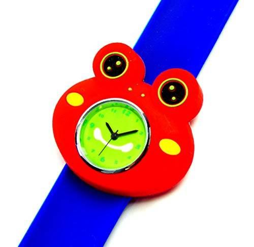 Kinderuhr Damenuhr mit Slaparmband aus Silikon viele Modelle (Cermit rot-blau)
