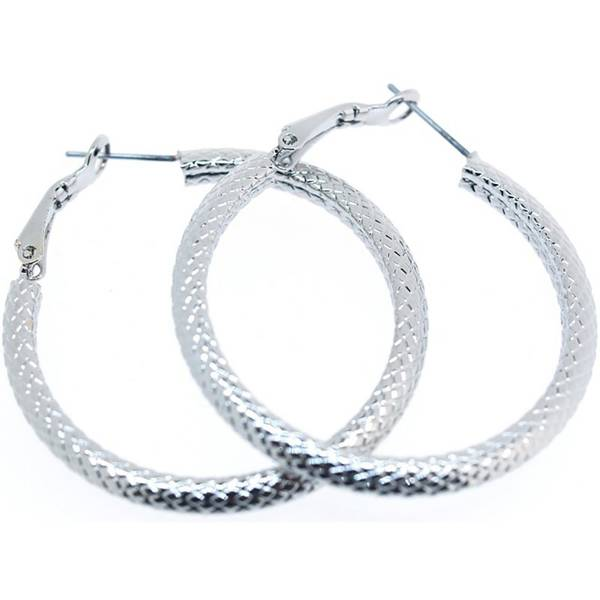 Creolen Damen-Ohrringe silber Designer Schmuck 2Stk Earrings 4cm Stecker