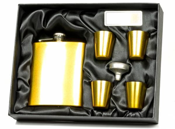 Premium Edelstahl Flachmann Taschenflachmann Set inkl. Geschenkbox 4 Becher 1 Trichter in Gold