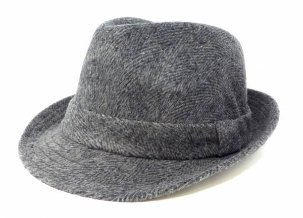 Herren Mütze Windschutz Trilby Fedora grau