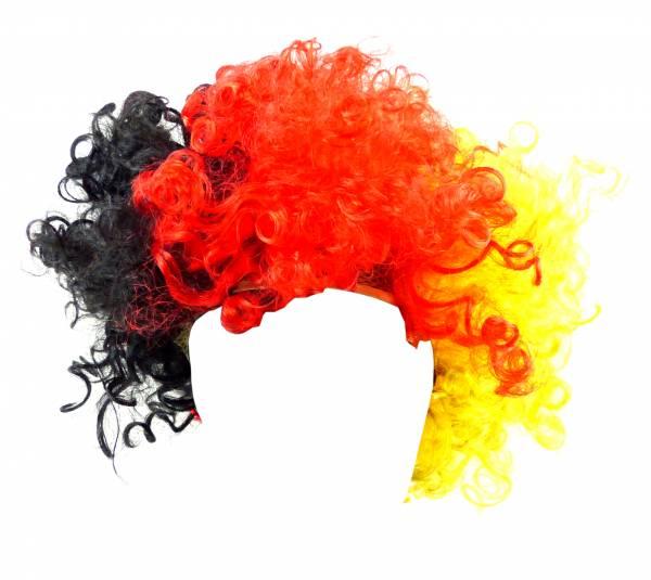 Deutschland-Clown WM-Perücken Herren Damen-Perücke Fasching Kunst-Haar Karneval Neon Haare Peruecken BRD-Frisur