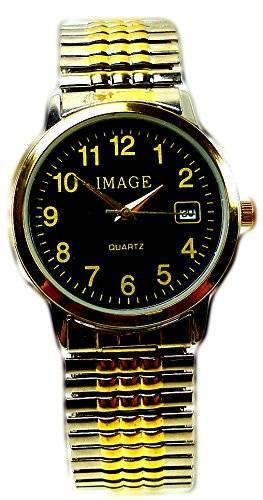 elegante und klassische Armbanduhr mit Flex Stahlarmband SCHWARZGOLD