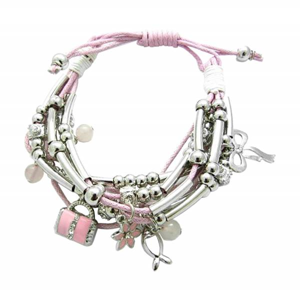 Damen-Armbänder Bettel-Armband Beads-Charms bracelets rose silver im tollem PINK