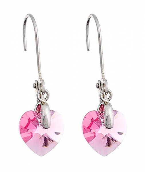 Tillberg Ohrringe Damen Ohrhänger in Herz-Form Swarovski-Stein ROSA Ohrring mit Clip Silber mit Swarovski-Heart Kistall Glamour Earrings der Oberklasse! rose