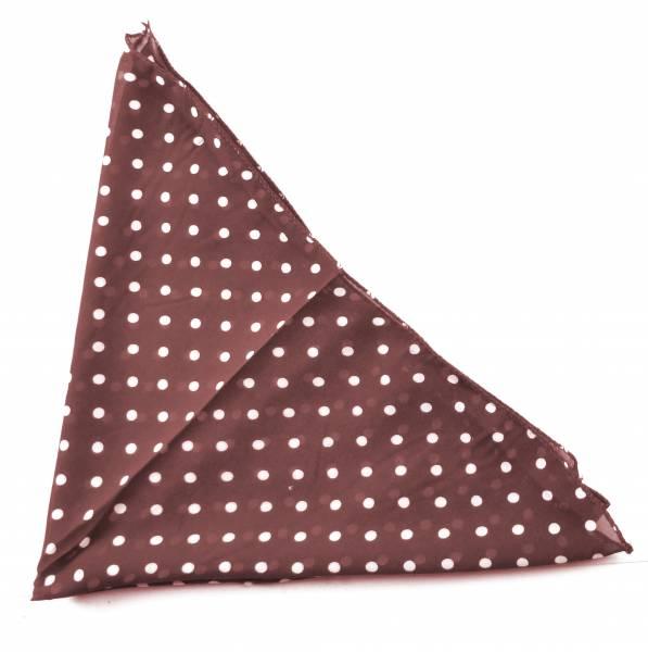 Tuch Schal Damen Halstuch RockaB. Schals seidig weich 145 x 43 cm Braun - Pünktchen Weiss 3368