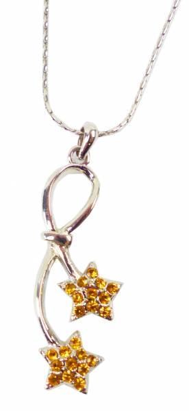 Halskette Swarovski Stein Collier Gold Star - edles Damen Collier Hals-Kette mit Swarovski Steinen besetzt Gold Star 4951