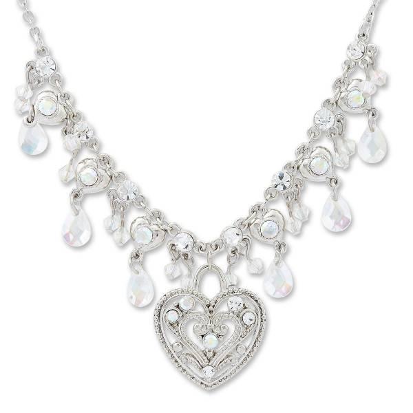 Damen Collier edle Damen Halskette mit Swarovski Steinen Herzanhänger Kristall