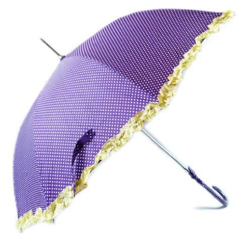 Wunderschöner Traumhafter Prinzessinen Regenschirm Gepunktet in Lila