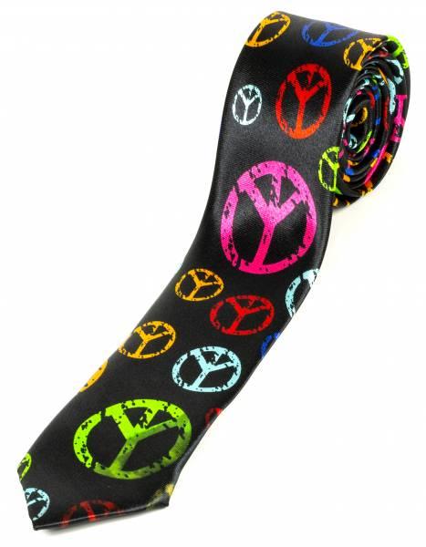 Motto Designer Krawatte Hippie Multicolor Handgefertigt Schwarz Pink Türkis Blau Rosa