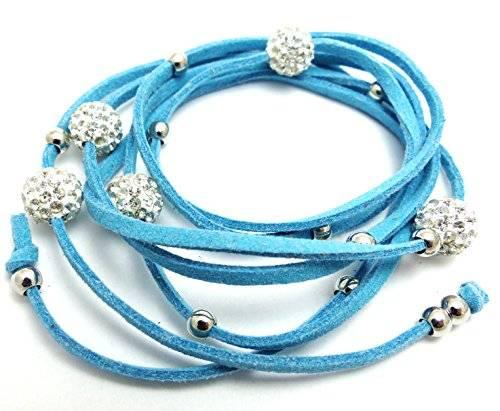 Damenarmbänder Wickelarmband mit Strasskugeln viele Modelle (türkies)