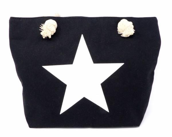 Style Damen-Tasche Schulter Strand-Taschen Stern-Motiv schwarz