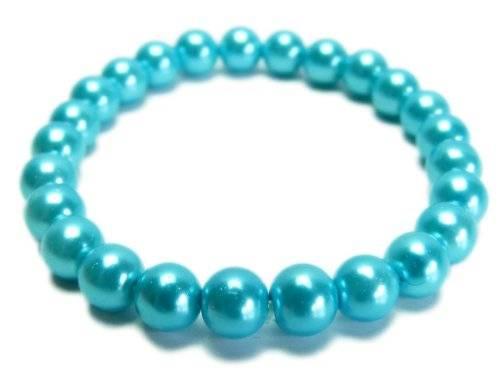 Armbaender 4035 Perlen Armband Glanz Perlen auf Stretch Armband - viele Farben (türkis)