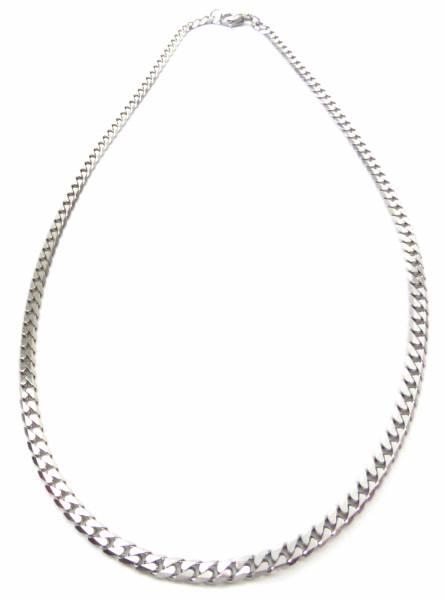 Halskette-silber Herren Damen-Halsketten Flach Panzerkette Silber 50cm x 0,5cm edel poliert Silver Necklace Men Woman Steel-Chain 4234