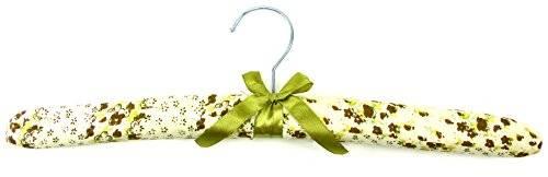 Kleider-bügel Stoff gepolstert 38cm mit Satin Schleife Blumen Motiven (grün)