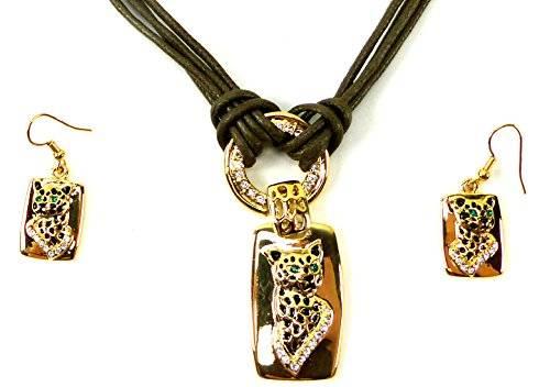 Damen-Ketten Set Ohrringe mit Collier gold+Leder Geparden Designer Schmuck Set für Damen mit Klasse
