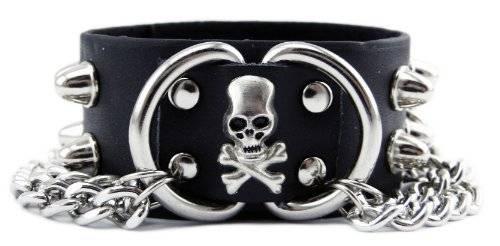Echt Leder Armband 1654 Edelstahl SKULL!EN mit Nieten & Kette U5-2
