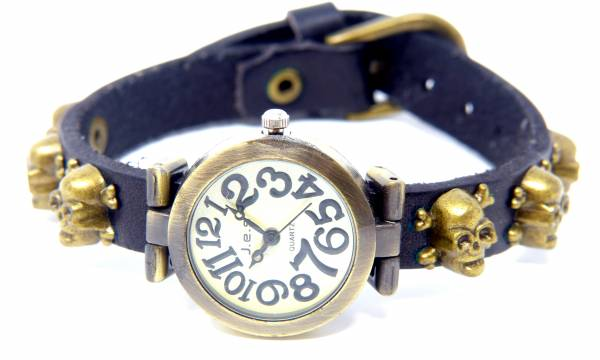 Totenkopf-Uhr Wickelarmband-IUhren mit Totenkopfnieten SCHWARZ