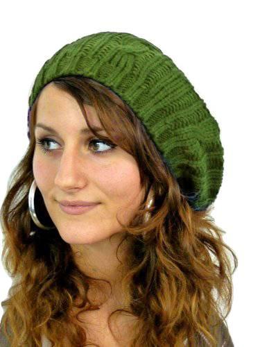 Muetze 4569 Damen Barett Woll Mütze warme Strick Mütze wool cap (olive)