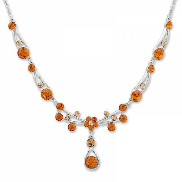 Tillberg-Halskette mit Swarovski-Kristallen besetzt Damen Topaz - edles Damen Collier Hals-Ketten Swarovski Steine Topaz 5380