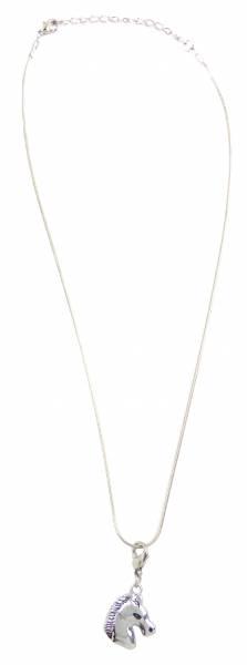 Ketten Armband Halskette silber Damen-Schmuck im Pferde-Design mit Anhänger (Pferdekopf)