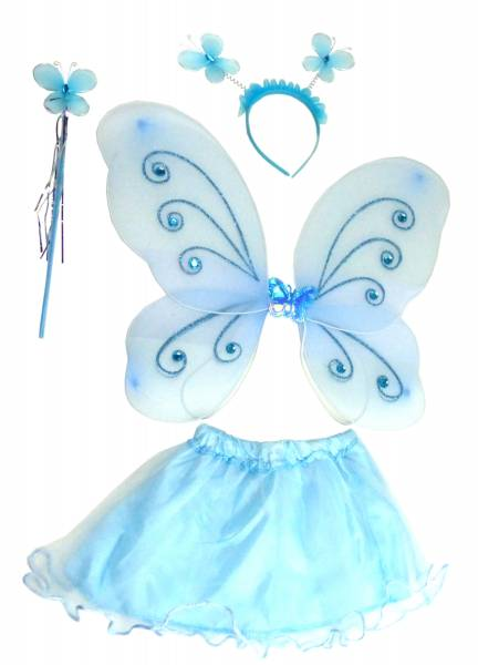 Prinzessin-Kostüm Kinder-Kostueme Elfen-Verkleidung Feen-Set türkis - Feenflügel Set - 4-teiliges Set - light-blue
