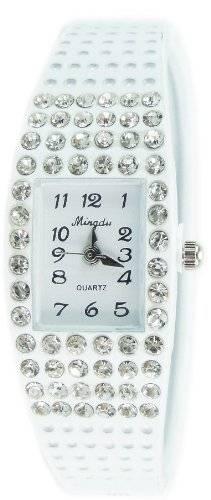 Damenuhr Strassbesatz Armbanduhr Spangenuhr Armreif Watch Designer Watch WEISS U67-1