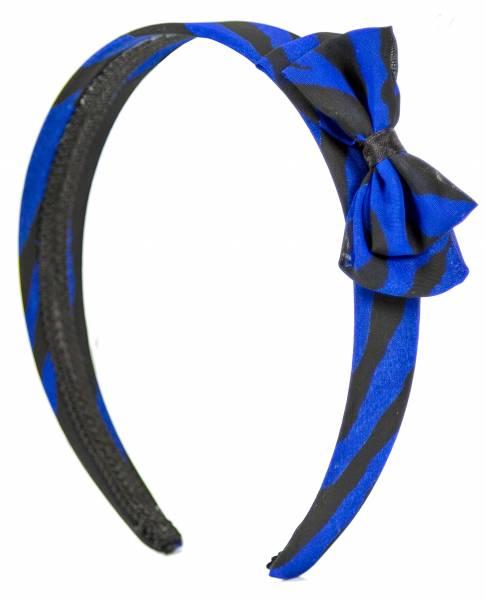 Haarreifen Damen Mädchen Haarreif Haarschmuck mit Schleife Retro 1x Blau Schwarz