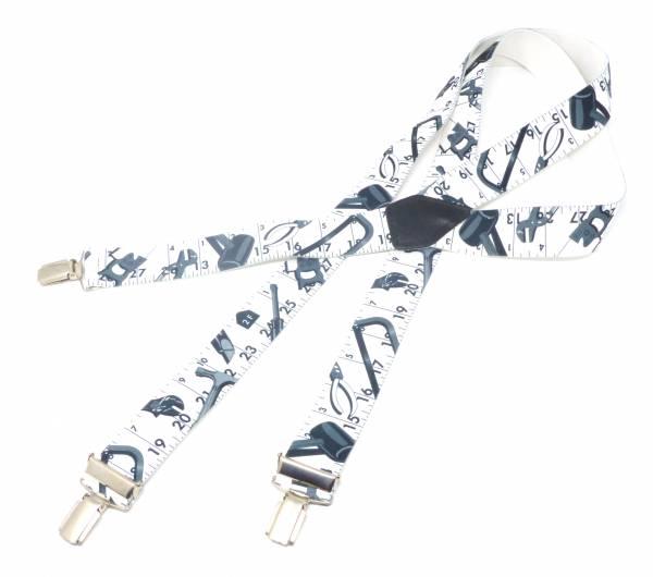Hosenträger weiss Handwerker-Motiv mit Werkzeug Suspenders Worker-Design