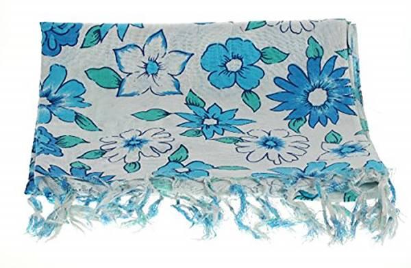 Damenschals weiss mit Blumen-Motiv blau 140x70cm -Schal Winter-Schals XL-Schal warme Schals für Sie und Ihn 2146
